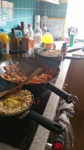 Me batch cooking noodles, rice and vegetables for the week.