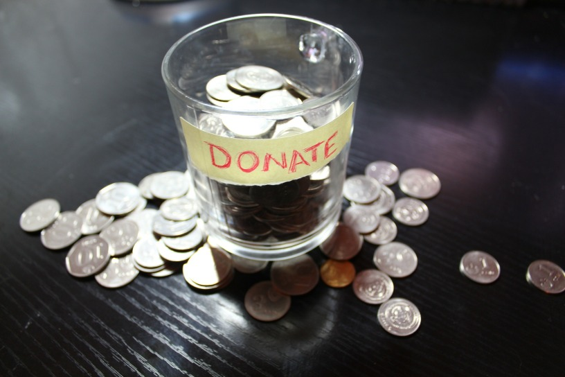 Photo of donations to cup
